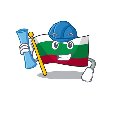 Architect flag bulgarian isolated in the character