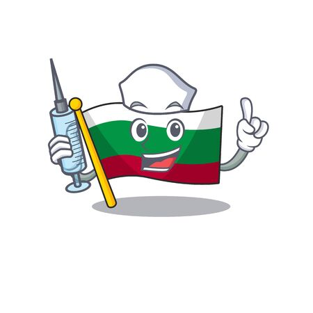 Nurse flag bulgarian isolated in the character