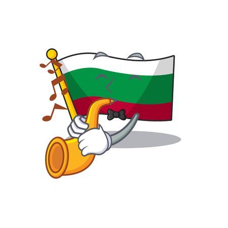 With trumpet flag bulgaria in the cartoon shape