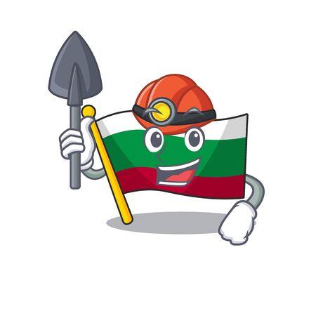 Miner flag bulgaria in the cartoon shape