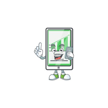 With phone up chart vertical tablet for report. vector illustration