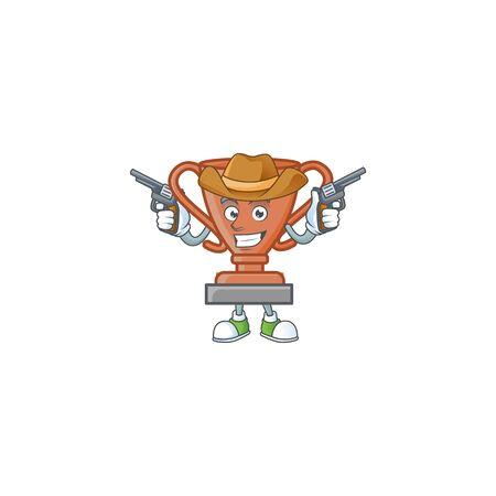 Farmer bronze trophy for the third winner. vector illustration