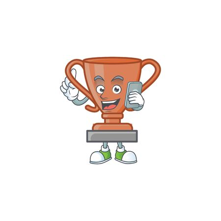 With phone bronze trophy for the third winner. vector illustration Çizim