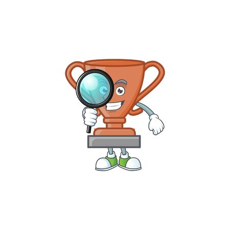 Detective cup bronze trophy for win collection. vector illustration