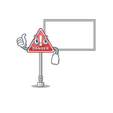 Thumbs up with board danger with on the in cartoon vector illustration Stock Illustratie