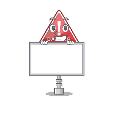 Grinning with board danger with on the in cartoon vector illustration Stock Illustratie