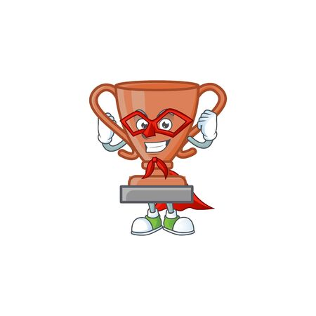 Super hero cup bronze trophy for win collection. vector illustration