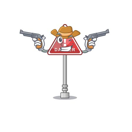 Cowboy danger with on the in cartoon vector illustration Stock Illustratie