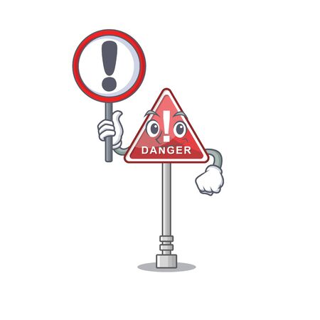 With sign danger with on the in cartoon vector illustration