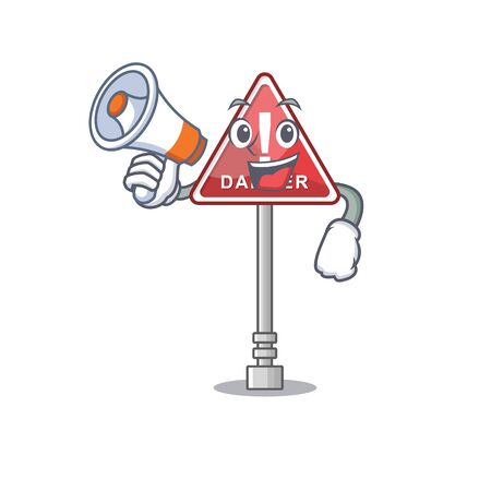 With megaphone danger with on the in cartoon vector illustration