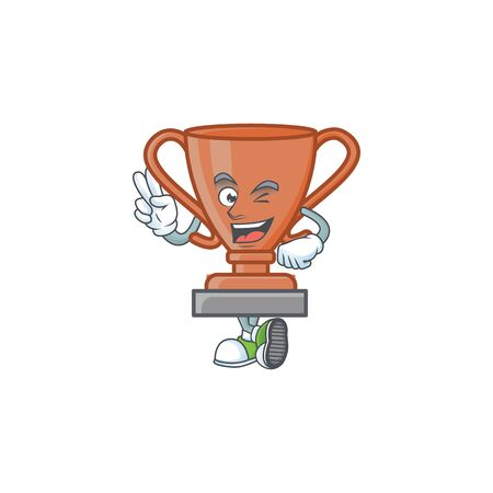 Two finger cup bronze trophy for win collection. vector illustration