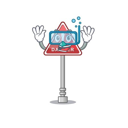 Diving danger cartoon isolated in the character vector illustration