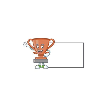 With board bronze trophy for the third winner. vector illustration Иллюстрация