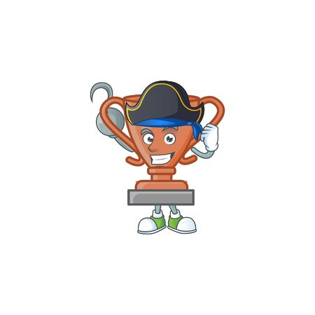 Pirate bronze trophy for the third winner. vector illustration