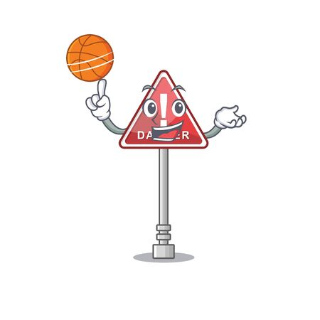 With basketball danger in cartoon vector illustration