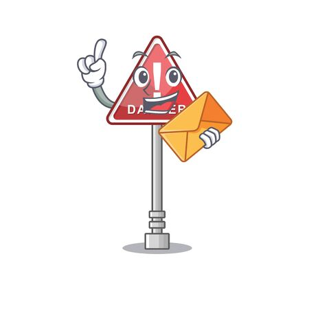 With envelope danger cartoon isolated in the character vector illustration