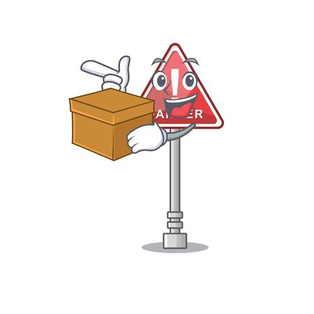 With box danger cartoon isolated in the character vector illustration