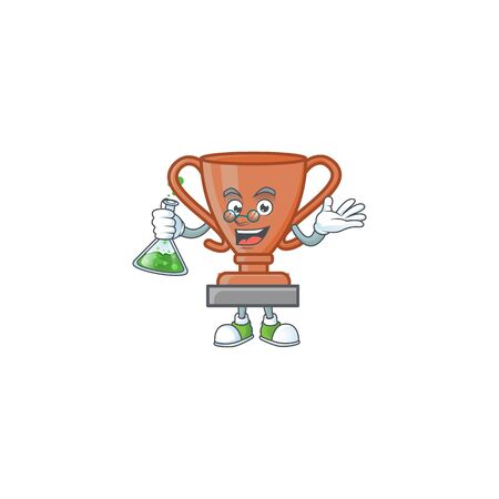Professor cup bronze trophy for win collection. vector illustration Ilustracja