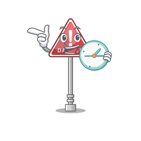 With clock danger cartoon isolated in the character vector illustration