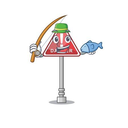 Fishing danger character in the mascot shape Ilustração