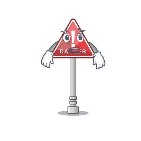 Afraid danger character in the mascot shape