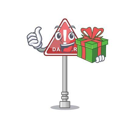 With gift danger character in the mascot shape Reklamní fotografie - 131945578