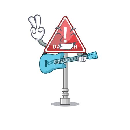 With guitar danger character in the mascot shape Çizim