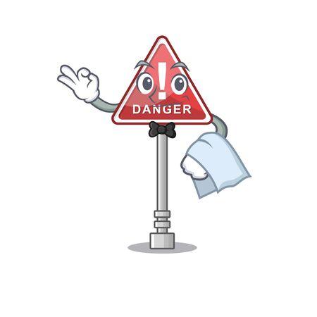 Waiter danger character in the mascot shape Ilustração