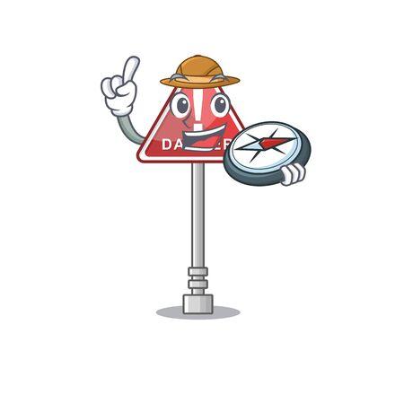 Explorer danger character in the mascot shape vector illustration Ilustração