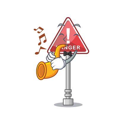 With trumpet danger character in the mascot shape Ilustração