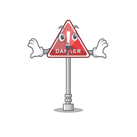 Surprised danger character in the mascot shape