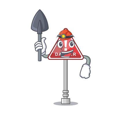 Miner danger character in the mascot shape Ilustração