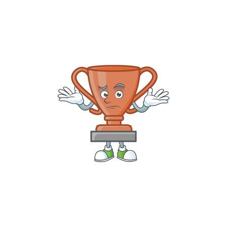 Grinning cup bronze trophy for win collection. vector illustration Ilustrace