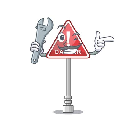 Mechanic miniature danger in shape of mascot Banque d'images - 131948578
