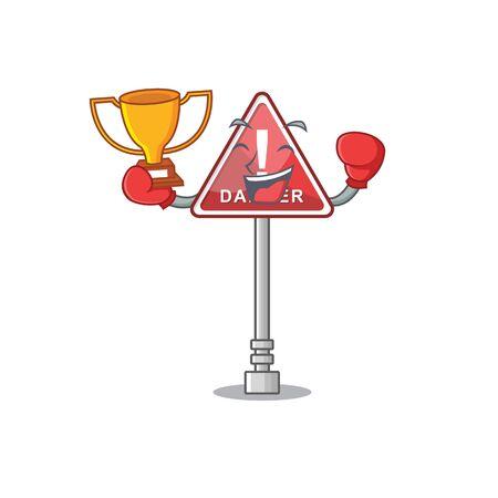Boxing winner miniature danger in shape of mascot Banque d'images - 131948589
