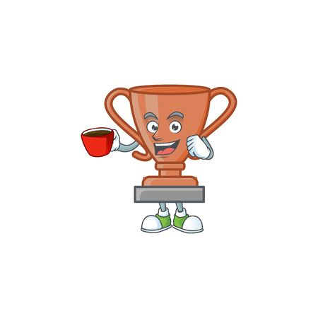 Drinking in cup cup bronze trophy for win collection. vector illustration Ilustrace