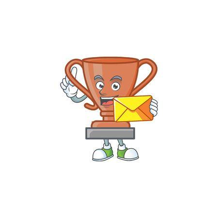 With envelope cup bronze trophy for win collection. vector illustration Иллюстрация