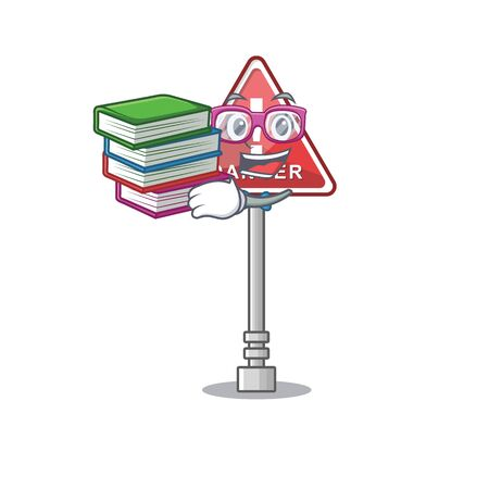 Student with book miniature danger in shape of mascot Banque d'images - 131948648