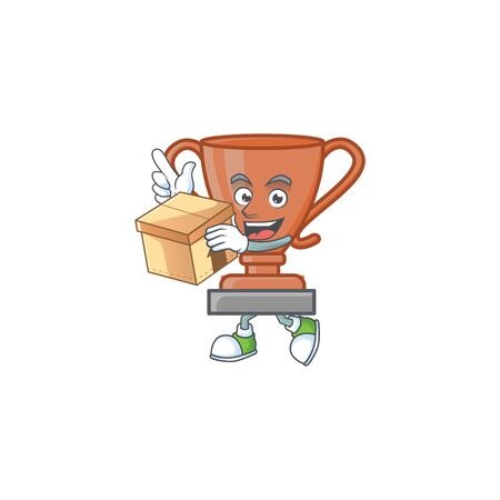 With box cup bronze trophy for win collection. vector illustration Ilustracja