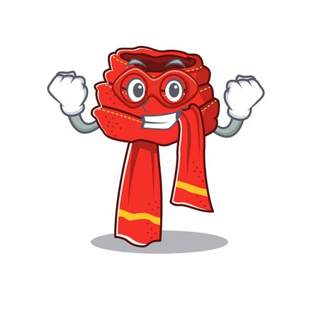 Super hero scarf mascot isolated in the cartoon
