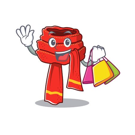 Shopping scarf mascot isolated in the cartoon