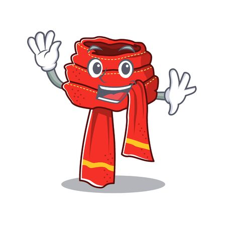 Waving scarf mascot isolated in the cartoon