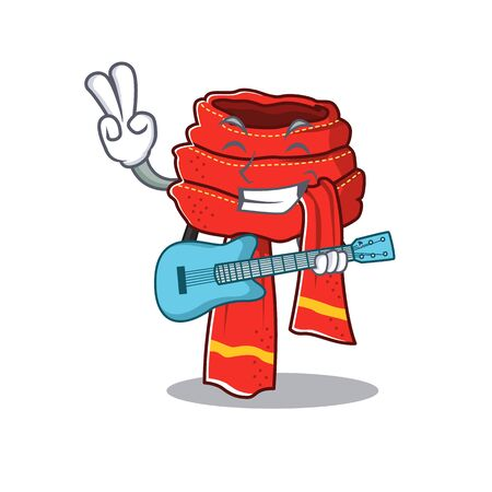 With guitar scarf cartoon with the character shape Ilustração