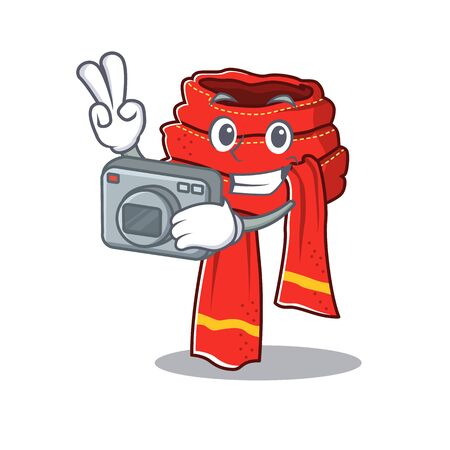 Photographer scarf cartoon with the character shape