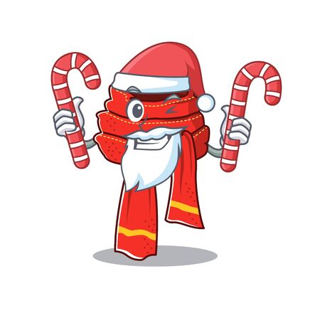 Santa with candy scarf hung on the character wall Иллюстрация