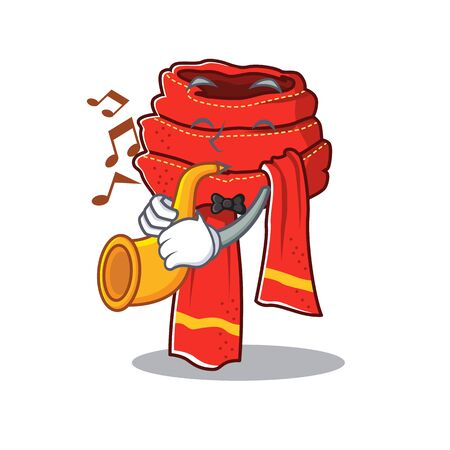 With trumpet scarf cartoon with the character shape