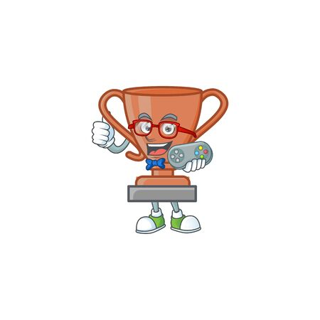 Gamer bronze trophy cartoon character with mascot vector illustration