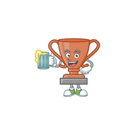 With juice bronze trophy cartoon character with mascot vector illustration Фото со стока - 131948763