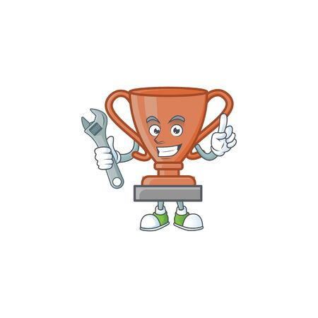 Mechanic icon bronze trophy in the cartoon vector illustration Ilustração