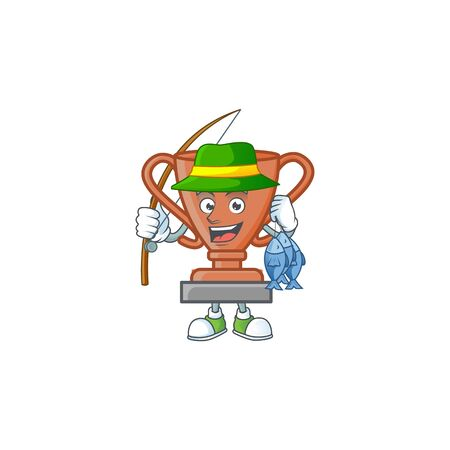 Fishing bronze trophy cartoon character with mascot vector illustration Фото со стока - 131929299